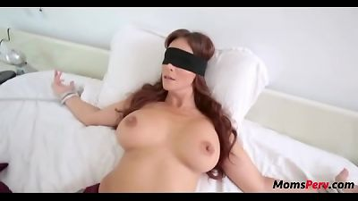 perv son smashes mom's gullet when shes blindfolded!