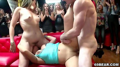 Horny ladies suck and fuck in the club