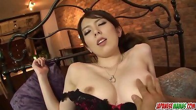 Yui Hatano deep throats it raw before putting it into her ass - More at Japanesemamas com